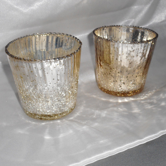 Mosaic Crackle Glass CANDLE HOLDER TEA LIGHT Various Packs black gold silver